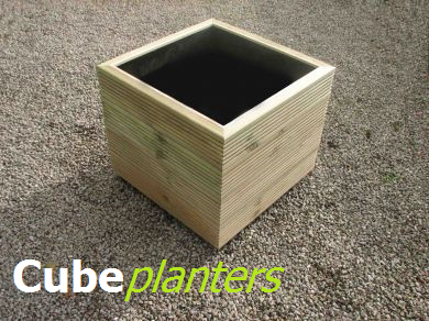 View cube wooden planters.