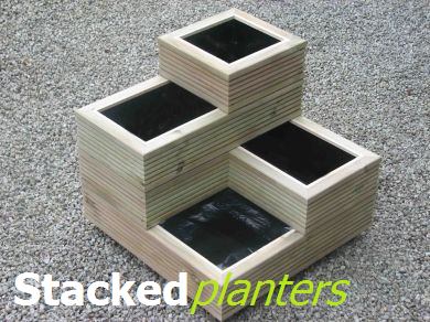 View stacked wooden planters.