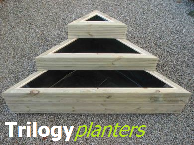 View triangular wooden planters.